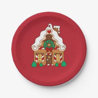 Plato De Papel Placas de papel de la fiesta de Navidad roja de la