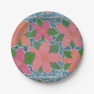 Plato De Papel Placas de papel de la flor tropical