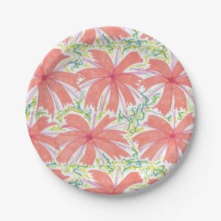 Plato De Papel Placas de papel de la flor tropical soleada