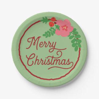 Plato De Papel Placas de papel de la flora de las Felices Navidad