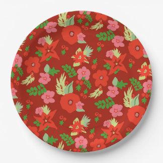 Plato De Papel Placas de papel de la flora roja del navidad