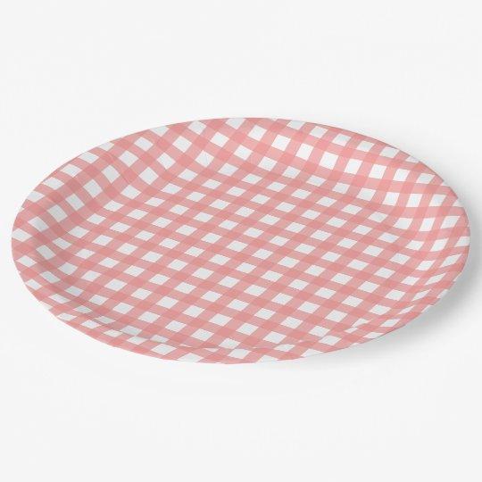 Plato De Papel Placas de papel de la tela escocesa rosada