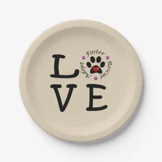 Plato De Papel Placas de papel del amor animal del rescate