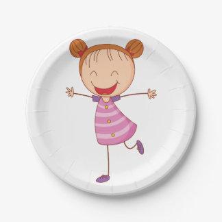 Plato De Papel Placas de papel del chica feliz