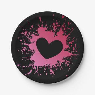 Plato De Papel Placas de papel del corazón del negro rosado del