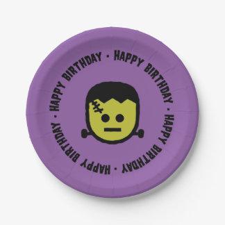 Plato De Papel Placas de papel del cumpleaños de Frankenstein