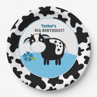 Plato De Papel Placas de papel del cumpleaños de la vaca de la