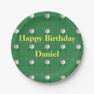 Plato De Papel Placas de papel del cumpleaños del golf