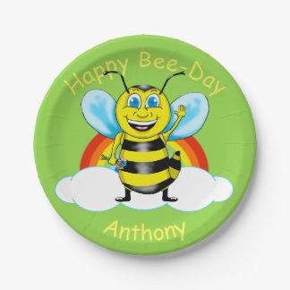 Plato De Papel Placas de papel del cumpleaños feliz de la abeja