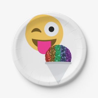 Plato De Papel placas de papel del emoji del guiño del brillo
