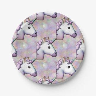 Plato De Papel placas de papel del emoji del unicornio del