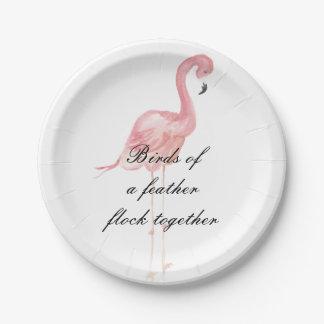 Plato De Papel Placas de papel del fiesta rosado del flamenco