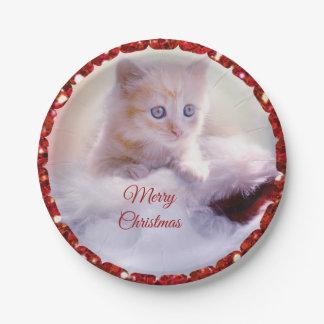 Plato De Papel Placas de papel del gatito de las Felices Navidad