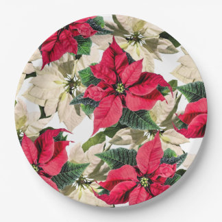 Plato De Papel Placas de papel del invierno de la flor roja y