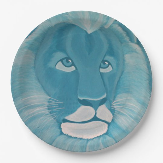 Plato De Papel Placas de papel del león de la turquesa