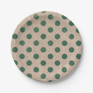 Plato De Papel Placas de papel del lunar verde