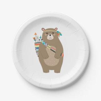Plato De Papel Placas de papel del oso tribal