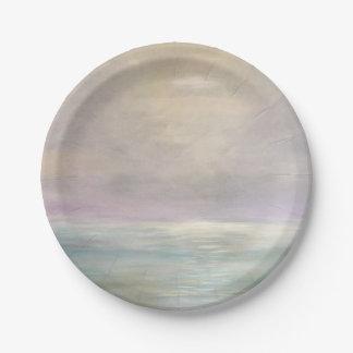 Plato De Papel Placas de papel del paisaje marino en colores