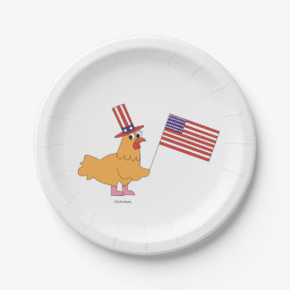 Plato De Papel Placas de papel del pollo patriótico