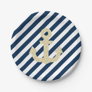 Plato De Papel Placas de papel del purpurina de la marina de