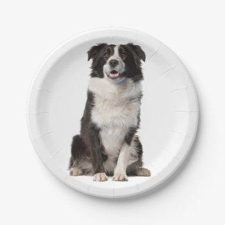 Plato De Papel Placas de papel negras y blancas del perro de
