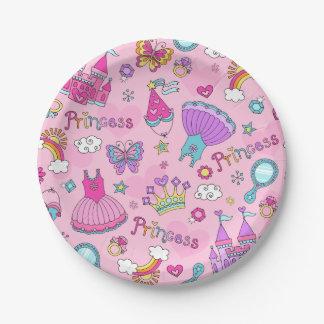"""Plato De Papel Placas de papel rosadas de princesa Custom 7"""""""