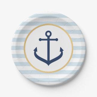 Plato De Papel Placas de papel temáticas náuticas - ancla azul