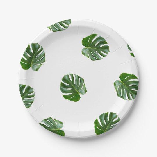 Plato De Papel Placas de papel tropicales de la impresión de la