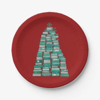 Plato De Papel Placas del árbol del libro de navidad
