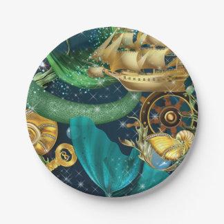 Plato De Papel Placas del fiesta de la sirena