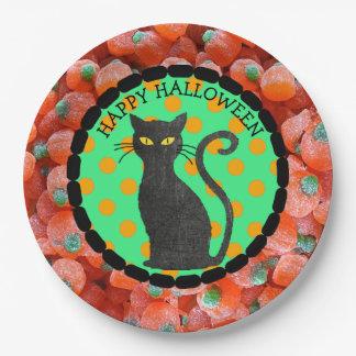 Plato De Papel Placas del gato negro del caramelo del feliz
