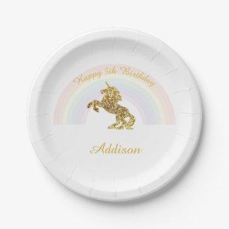 Plato De Papel Placas del unicornio para los cumpleaños