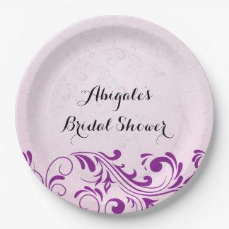 Plato De Papel Placas nupciales personalizadas púrpura del fiesta