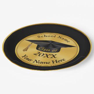 Plato De Papel Placas personalizadas de la graduación del negro y