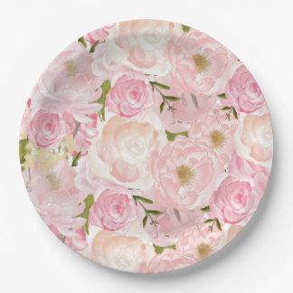 Plato De Papel Placas rosadas de la flor de los rosas