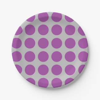 Plato De Papel Plata púrpura de los lunares