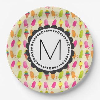 Plato De Papel Popsicles y monograma personalizado del helado
