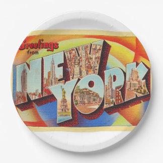 Plato De Papel Postal grande del viaje de la letra de New York