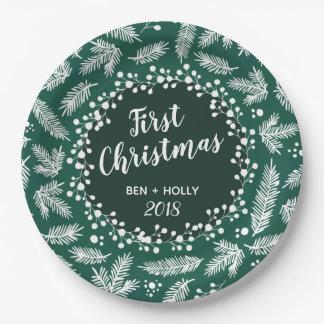 Plato De Papel Primer navidad que casa el árbol de hoja perenne