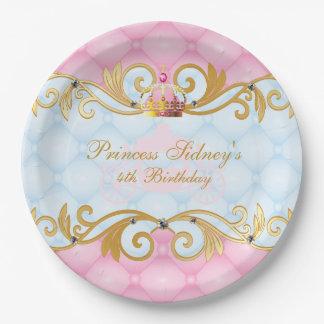 Plato De Papel Princesa Party del oro, del rosa y de los azules