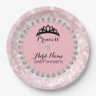 Plato De Papel Princesa rosada personalizada fiesta de bienvenida