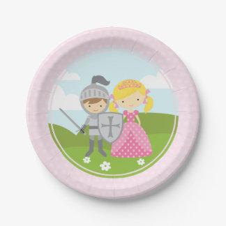 Plato De Papel Princesa rubia y placas del fiesta del caballero