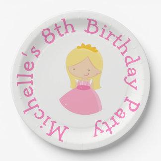 Plato De Papel Princesa y fiesta de cumpleaños rubias del dragón