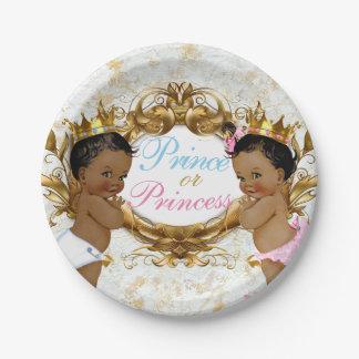 Plato De Papel Príncipe y princesa africanos Gender Reveal Plates