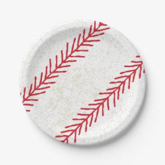 """Plato De Papel Puntada 7"""" del béisbol placas de papel"""
