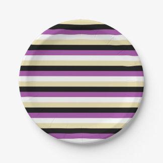 Plato De Papel Púrpura, blanco, beige y rayas negras