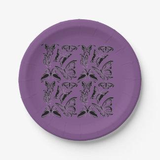 Plato De Papel Púrpura de la placa de papel con las mariposas
