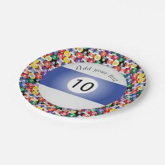 Plato De Papel Raya número diez de las bolas de piscina del
