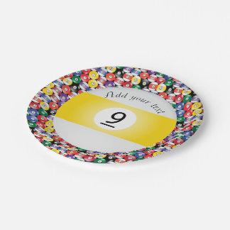 Plato De Papel Raya número nueve de las bolas de piscina del