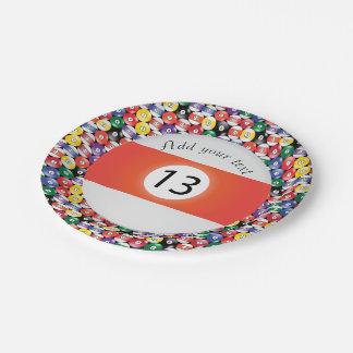 Plato De Papel Raya número trece de las bolas de piscina del